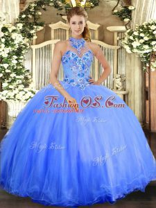 Floor Length Blue Quinceanera Gown Halter Top Sleeveless Lace Up