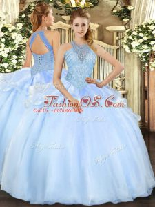 Light Blue Organza Lace Up Quinceanera Dress Sleeveless Floor Length Beading