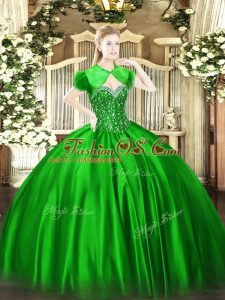 Green Ball Gowns Sweetheart Sleeveless Satin Floor Length Lace Up Beading 15th Birthday Dress