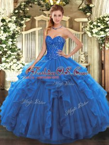 High Quality Blue Sleeveless Tulle Lace Up Quinceanera Dresses for Military Ball and Sweet 16 and Quinceanera