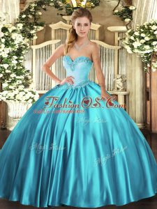 Sleeveless Lace Up Floor Length Beading 15 Quinceanera Dress