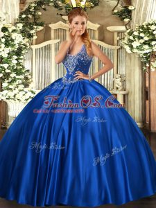 Straps Sleeveless Quince Ball Gowns Floor Length Beading Royal Blue Satin