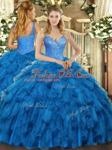 Dazzling Blue Lace Up Quinceanera Gowns Beading and Ruffles Sleeveless Floor Length