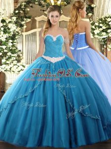 Decent Baby Blue Ball Gowns Sweetheart Sleeveless Tulle Brush Train Lace Up Appliques 15 Quinceanera Dress