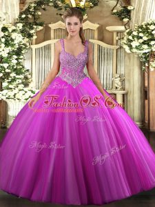 Noble Floor Length Ball Gowns Sleeveless Fuchsia 15th Birthday Dress Lace Up
