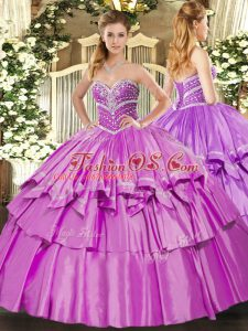 Lovely Lilac Ball Gowns Sweetheart Sleeveless Organza and Taffeta Floor Length Lace Up Beading and Ruffled Layers Sweet 16 Quinceanera Dress