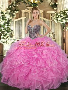 Rose Pink Ball Gowns Organza Sweetheart Sleeveless Beading and Ruffles Floor Length Lace Up Sweet 16 Quinceanera Dress