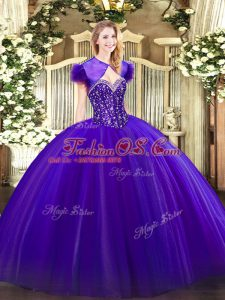 Purple Ball Gowns Tulle Sweetheart Sleeveless Beading Floor Length Lace Up Quince Ball Gowns