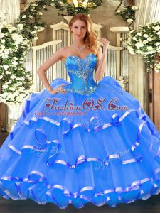 Graceful Floor Length Blue Sweet 16 Dresses Organza Sleeveless Beading and Ruffled Layers