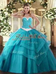 Vintage Teal Lace Up Sweetheart Appliques and Ruffled Layers Quince Ball Gowns Tulle Sleeveless