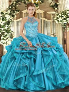 Organza Halter Top Sleeveless Lace Up Beading Sweet 16 Dresses in Teal