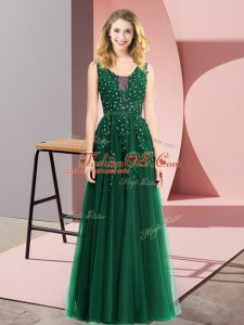 Adorable Dark Green Backless Prom Dress Beading and Appliques Sleeveless Floor Length