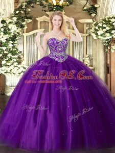 Hot Selling Purple Lace Up Quinceanera Gowns Beading Sleeveless Floor Length