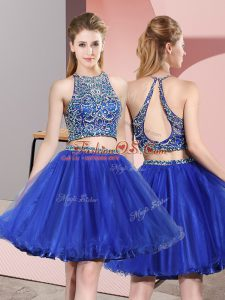 Comfortable Mini Length Two Pieces Sleeveless Blue Womens Party Dresses Criss Cross