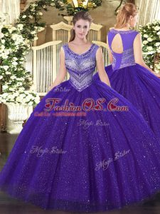 New Arrival Purple Lace Up Scoop Beading Sweet 16 Dresses Tulle and Sequined Sleeveless