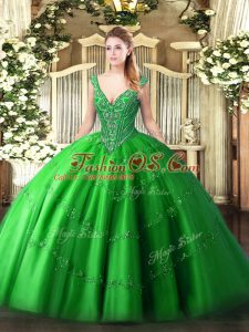 V-neck Sleeveless Quinceanera Gown Floor Length Beading and Appliques Green Tulle