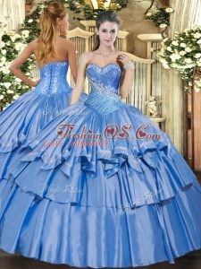 Organza and Taffeta Sweetheart Sleeveless Lace Up Beading and Ruffles Quinceanera Gowns in Baby Blue