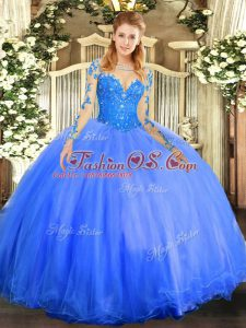 Adorable Scoop Long Sleeves Lace Up Quinceanera Gown Blue Tulle