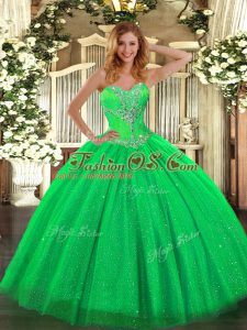 Green Lace Up Quinceanera Gown Beading Sleeveless Floor Length