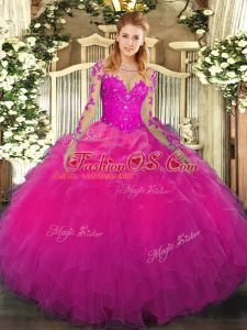 Fuchsia Long Sleeves Organza Lace Up Sweet 16 Quinceanera Dress for Military Ball and Sweet 16 and Quinceanera