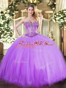 Sleeveless Tulle Floor Length Lace Up 15 Quinceanera Dress in Lavender with Beading