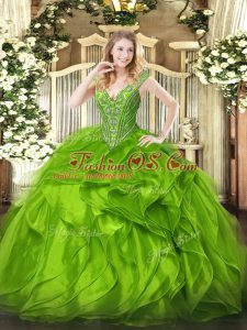 Organza Lace Up V-neck Sleeveless Floor Length Quinceanera Gowns Beading and Ruffles