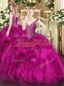 Flirting Fuchsia Organza Lace Up 15th Birthday Dress Sleeveless Floor Length Beading and Ruffles