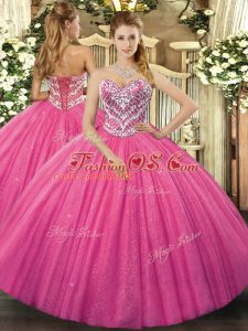 Hot Pink Ball Gowns Sweetheart Sleeveless Tulle Floor Length Lace Up Beading 15th Birthday Dress
