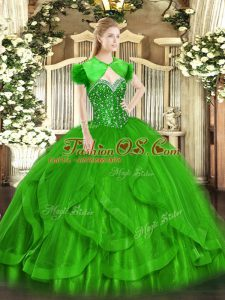 Ideal Green Sleeveless Tulle Lace Up Quinceanera Dresses for Military Ball and Sweet 16 and Quinceanera