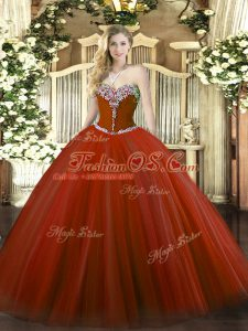 Exceptional Sweetheart Sleeveless Quince Ball Gowns Floor Length Beading Rust Red Tulle