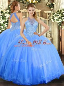 Floor Length Lace Up Vestidos de Quinceanera Blue for Military Ball and Sweet 16 and Quinceanera with Beading