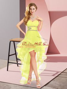 Sweetheart Sleeveless Homecoming Dress High Low Beading Yellow Tulle