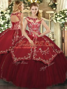 Cap Sleeves Floor Length Beading and Appliques and Embroidery Lace Up Quinceanera Dress with Wine Red