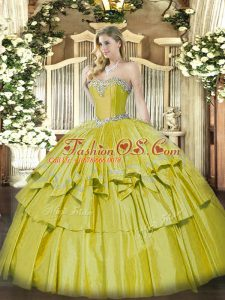Yellow Sweetheart Lace Up Beading and Ruffled Layers Sweet 16 Dresses Sleeveless