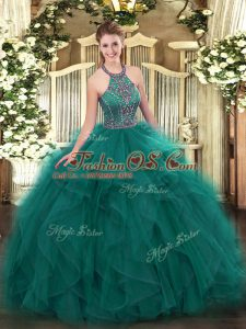 Flare Floor Length Teal Quinceanera Dresses Tulle Sleeveless Beading and Ruffles