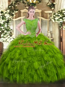 Olive Green Scoop Neckline Beading and Ruffles 15th Birthday Dress Sleeveless Zipper