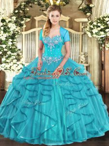 Aqua Blue Tulle Lace Up Sweetheart Sleeveless Floor Length Vestidos de Quinceanera Beading and Ruffles