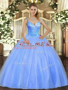 Custom Design Blue Sleeveless Tulle Lace Up Quince Ball Gowns for Military Ball and Sweet 16 and Quinceanera