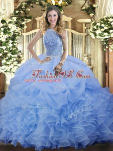 Sophisticated Blue Ball Gowns Beading and Ruffles and Pick Ups Sweet 16 Quinceanera Dress Lace Up Organza Sleeveless Floor Length