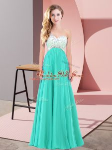 Turquoise Custom Made Prom and Party with Beading One Shoulder Sleeveless Criss Cross