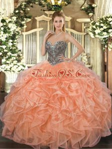 Sweet Ball Gowns Sweet 16 Dress Orange Sweetheart Organza Sleeveless Floor Length Lace Up