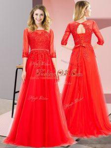 Inexpensive Floor Length Red Party Dress Wholesale Square 3 4 Length Sleeve Lace Up