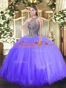 Dazzling Lavender Ball Gowns Beading Vestidos de Quinceanera Lace Up Tulle Sleeveless Floor Length
