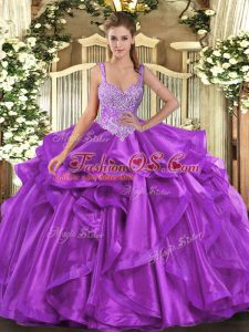 Fancy Floor Length Eggplant Purple Sweet 16 Dress Organza Sleeveless Beading and Ruffles