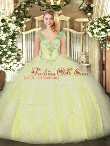 Stylish Sleeveless Tulle Floor Length Lace Up Quince Ball Gowns in Yellow Green with Beading and Ruffles