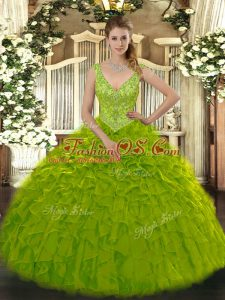 Olive Green Zipper V-neck Beading and Ruffles Quinceanera Dress Organza Sleeveless