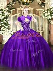 Best Sleeveless Floor Length Beading Lace Up Quince Ball Gowns with Purple