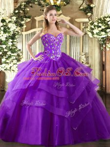 Eggplant Purple Sweetheart Neckline Embroidery and Ruffled Layers Quinceanera Gowns Sleeveless Lace Up