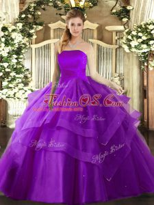 Hot Selling Strapless Sleeveless Tulle Quinceanera Dress Ruffled Layers Lace Up