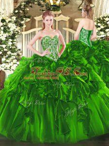 Deluxe Floor Length Ball Gowns Sleeveless Green Vestidos de Quinceanera Lace Up